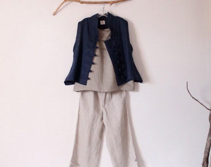 SUMMER linen outfit tank top VEST pants handmade to measure petite to plus size / linen vest top pants / plus size / petite / custom length