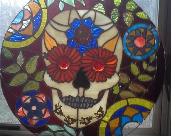 Stained Glass Day of the Dead Mask Circular Window Panel