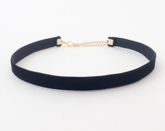 Black Velvet Choker | 90s Choker | Thin Black Choker Necklace