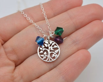Mothers Birthstone Necklace, Mom Necklace, Sterling Silver Necklace, Tree of Life Necklace, Childrens Birthstones, Gift for Mom 0379