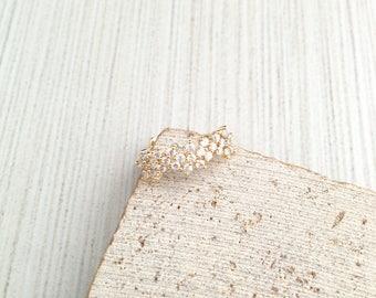 Flower Ring,Gold Flower Ring,Tiny Cubic Flower Ring,Tiny Crystal Cubic Ring,Cubic Crystal Ring,Gold Cubic Flower Ring,Bridesmaid Ring