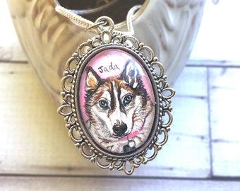 Siberian Husky Jewelry - Husky Gifts - Custom Pet Portrait Jewelry - Pet Memorial Necklace - Pet Loss Gifts - Dog Memorial Necklace For Her