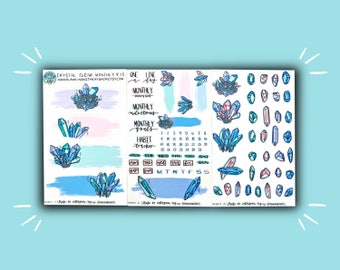 Crystal Clear Monthly Kit | Monthly Planner Sticker | Bullet Journal Stickers | Stickers for Planners & Journals | Journaling Supplies