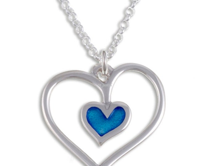 Blue heart Sterling silver pendant outline with a hot vitreous blue enamel heart centre on 18″Sterling silver belcher chain- Hand Made in UK