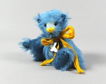 Margaret an OOAK Blue Mohair Bear Teddy Bear with Silk Sari Bow