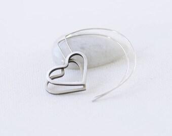 Silver Heart Dangle Earrings, Edgy Heart Earrings