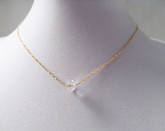 crystal bead necklace single crystal necklace minimalist jewelry