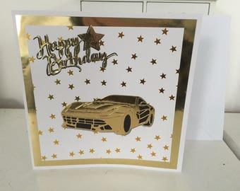 Golden Sports Car