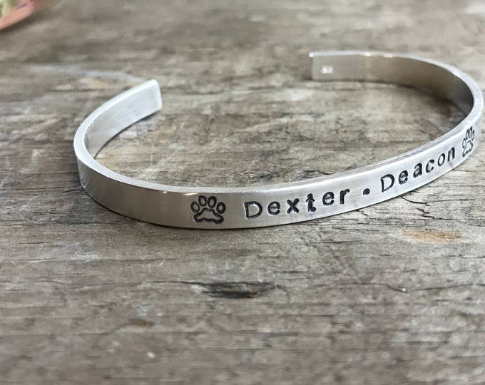 Fur Mom Cuff Bracelet silver Stack cuff for your cat or dog Fur Baby bracelet- Personalized stacking cuffs mom bracelets