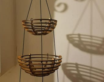 Ready to Ship Cherry Wooden Three Tiered Hanging Fruit Basket