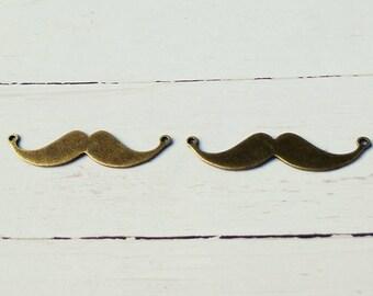 2 connectors metal moustache charms 49x12mm antique bronze