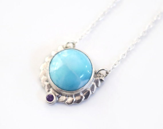 Larimar and Amethyst Wreath Necklace in Sterling Silver