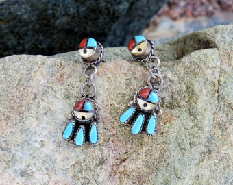 ZUNI SUN FACE Dangle Earrings, Inlay & Turquoise Petit Point, Signed, Sterling