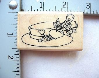 Effie Glitzfingers St. Louis Stamp Designs RARE Roses and Hearts Hat DESTASH Rubberstamp