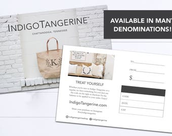 Gift Certificate | Choose Your Amount | Last Minute Gift Ideas | Gifts for Her | Birthday Gift | Indigo Tangerine