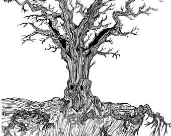 "original pen and Ink art ""Tree"""