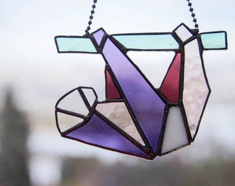 Sloth stained glass suncatcher