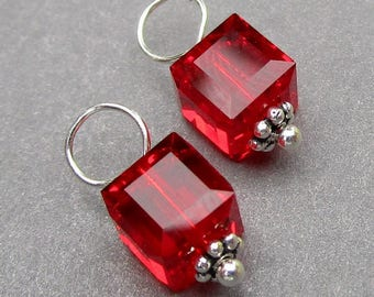 Swarovski Crystal Cube Birthstone Charms,  Light Red Siam Ruby Wire Wrapped Bead Dangles, Interchangeable Earring Components,July Birthstone