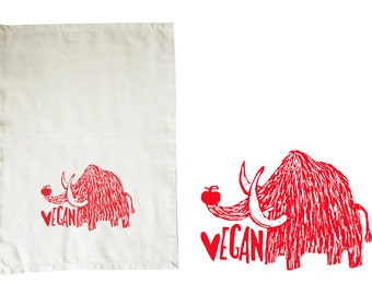 Vegan mammoth. Dish towel, organic cotton. Screen printed by hand.