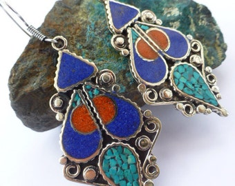 Ethnic, Nepalese/Tibetal style coral, turquoise and lapis earrings UK seller