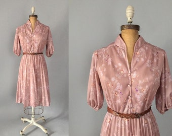 1970s dusty rose cherry blossom floral micro pleated puff sleeve midi dress / 70s dress / medium M large L