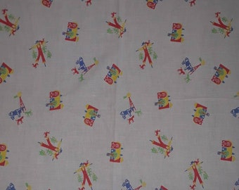 Vintage feed or flour sack fabric, barnyard, yellow blue green red on white, scarecrow barn windmill cow, 1940s or 50s, stitches shown