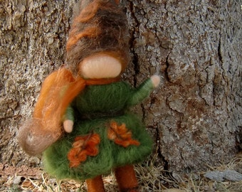 Oak Gnome - Needle felted wool fairy soft sculpture bendy for Nature Table- Waldorf Inspired