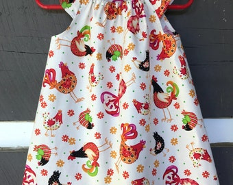 Girls Chicken Dress, Girls Cotton Dress, Little Girls Flutter Sleeve,