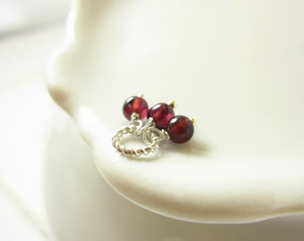 Dark Red Garnet Jewelry - Natural Gemstone Birthstone Charm - Sterling Silver Charm - Healing Crystals and Stones - Small Garnet Pendant