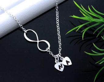 Silver Infinity necklace. Choose Birthstone custom initial charm. Initial Necklace with Infinity Love symbol, Friendship symbol.