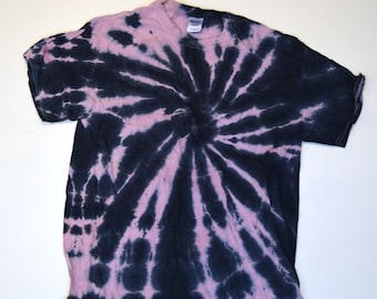 Baby Pink and Black Spiral Tie Dye T-Shirt  (Gildan Heavy Cotton Size L) (One of a Kind)