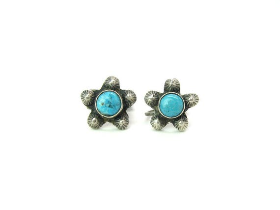 Vintage Navajo Turquoise Sterling Silver Five Point Star Earrings