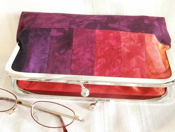 Handmade, hand dyed, patchwork clutch. Purple, red, orange. PASSION by Lella Rae on Etsy