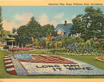 American Flag postcard at Roger Williams Park, Providence Rhode Island   about 1940 linen unused