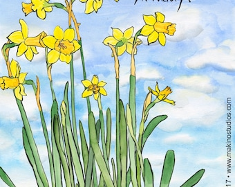 235. daffodil birthday card - set of any 6 cards