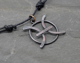 Pisces necklace oxidised copper on adjustable wax cord