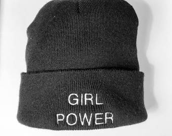 Girl Power - embroidered beanie hat
