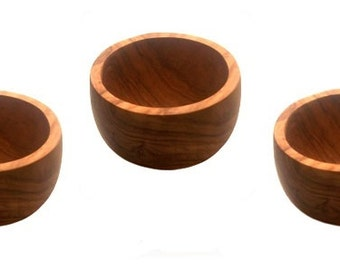 Mother's day gift, mom gift, Set of 3 Olive wood soup bowls 4.72 inches, kitchenware, tableware, girlfriend gift, boyfriend gift, dad gift