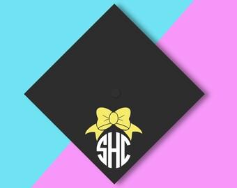 GRADUATION CAP Bow Preppy monogram vinyl decal | happy graduation cap Class of 2017 grad Prep HS college graduate Custom Graduation Grad
