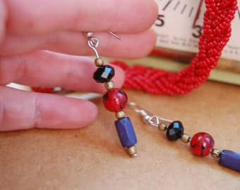 Earrings made from beads recycled eco-friendly recycled •Boutique Montreal Inspirational jewelry •