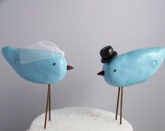 Rustic Lovebird Wedding Cake Topper with Top Hat and Veil - Wedding Decor - Colors of Choice