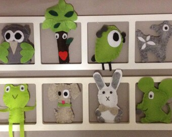 room decoration wall frame, figurines, green, beige, gray baby, birthday gift
