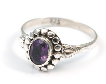 Amethyst 92.5 sterling silver ring size 8 us