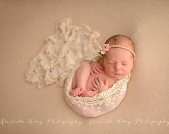 Newborn Wrap, Vintage Lace Wrap, Newborn Photo Prop, Baby Blanket, Photography Prop, Newborn Props, Ivory Cream Newborn Lace Wrap