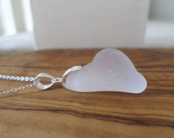 Ice White Frosted Bottle Rim Sea Glass Sterling Silver Pendant, Seaglass, Necklace, Beach Glass, Beach Jewelry, Seaham, Seaglass Necklace