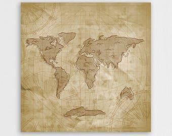 Wooden world map box, Wood decoration, World map, Wood print