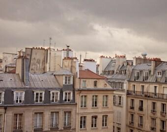 Paris Rooftops Photo, City View, Digital, Printable Fine Art Photography