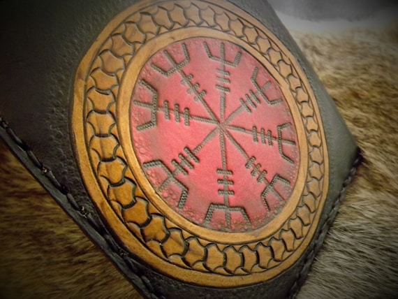 Viking Leather Wallet - Ægishjálmr Helm of Awe Bifold Wallet - 17th Century Icelandic Stave