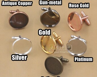 Wholesale 50 Cufflinks- Brass Silver/ Gold/ Rose Gold/ Platinum/ Gun-Metal Plated Cufflink W/ 12mm/ 14mm/ 16mm/ 18mm/ 20mm Round Bezel Cup