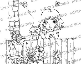 Digital Stamp Garden Girl with Cat, Digi Download Coloring Page, Summer Floral Flowers, Scrapbooking Supplies, Clip Art